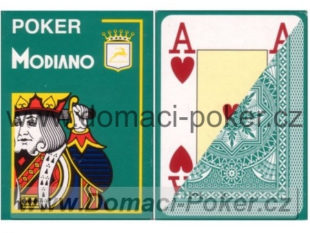 Modiano 100% Plast Poker Cristallo Jumbo Index - tmavě zelené